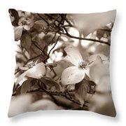 Dogwood Blossoms Throw Pillow by Sharon Popek