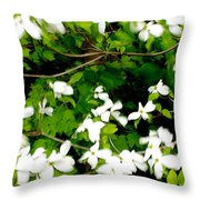 Dogwood In The Wind Throw Pillow