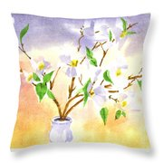 Dogwood In Watercolor Throw Pillow
