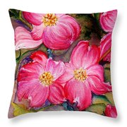 Dogwoods In Pink Throw Pillow