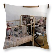 Doll Cribs Throw Pillow