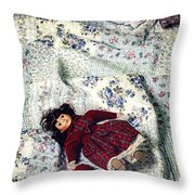 Doll On Bed Throw Pillow