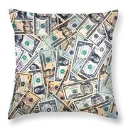 Dollar Background Throw Pillow by Olivier Le Queinec