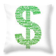 Dollar Sign Throw Pillow by Aged Pixel