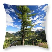 Dolomites - Tree Over The Valley Throw Pillow