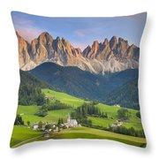 Dolomites From Val Di Funes Throw Pillow