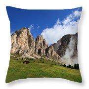 Dolomites In Badia Valley  Throw Pillow