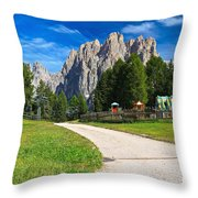 Dolomiti - Gardecia With Catinaccio Mount Throw Pillow