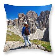 Dolomiti - Hiker In Sella Mount Throw Pillow
