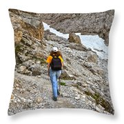 Dolomiti - Hiker In Val Setus Throw Pillow