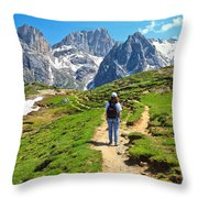 Dolomiti - Hiking In Contrin Valley Throw Pillow