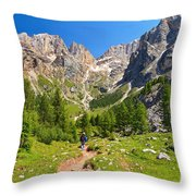 Dolomiti -landscape In Contrin Valley Throw Pillow