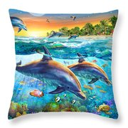 Dolphin Bay Throw Pillow by Adrian Chesterman