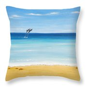 Dolphin Beach Throw Pillow