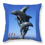 Dolphin Dance Throw Pillow