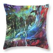 Dolphin Dives Throw Pillow