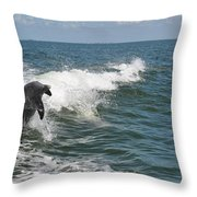 Dolphin In Waves Throw Pillow