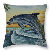 Dolphin Jumping Throw Pillow