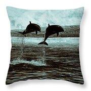 Dolphin Pair-in The Air Throw Pillow