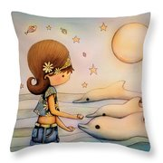 Dolphin Paradise Throw Pillow by Karin Taylor