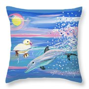 Dolphin Plays With Duckling Throw Pillow