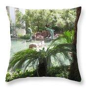 Dolphin Pond And Garden Green Throw Pillow
