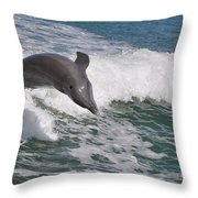 Dolphin Riding The Waves Throw Pillow