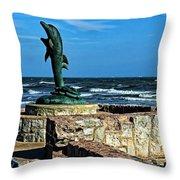 Dolphin Statue Throw Pillow