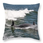 Dolphin Surf Throw Pillow