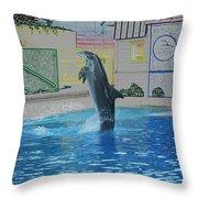 Dolphin Walking On Water Digital Art Throw Pillow