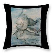 Dolphins Duo Underwater Art Cathy Peek Throw Pillow