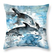 Dolphins In Gran Canaria Throw Pillow