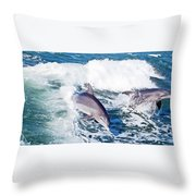 Dolphins Jumping Throw Pillow