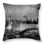 Dome Of The Rock -- Black And White Throw Pillow