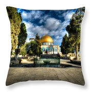 Dome Of The Rock Hdr Throw Pillow by David Morefield