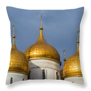 Domes Of The Dormition Cathedral Of Moscow Kremlin - Square Throw Pillow