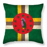 Dominica Flag Vintage Distressed Finish Throw Pillow