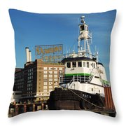 Domino Sugars Baltimore With A Boat Throw Pillow