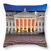 Dona Maria II National Theater At Night In Lisbon Throw Pillow