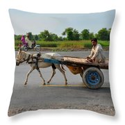 Donkey Cart Driver And Motorcycle On Pakistan Highway Throw Pillow