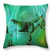 Donkey-featured In Nature Photography Group Throw Pillow