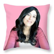 Donna In Pink Throw Pillow