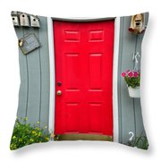 Donna's Red Friendship Door Throw Pillow