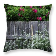 Don't Fence Me In - Wild Roses - Old Fence Throw Pillow