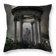 Don't Wake Up My Sleepy White Roses - Moonlight Version Throw Pillow