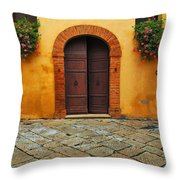 Door And Flowers In A Tuscan Courtyard Throw Pillow