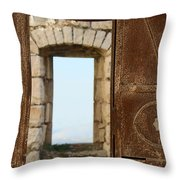 Door And Window Of The Old World Throw Pillow