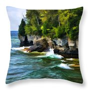 Door County Cave Point Cliffs Throw Pillow