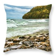 Door County Porcupine Bay Waves Throw Pillow