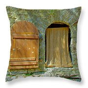 Door In Walkway Wall In Old Town Tallinn-estonia Throw Pillow
